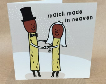 Warm humour cartoon match WEDDING celebration card