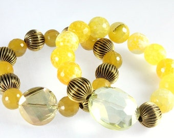 Yellow Agate Stretch Bracelets, Stacking Bracelets, Yellow Agate, Crab Agate, Sunshine Yellow, Stretch Bracelets, Yellow Crystals
