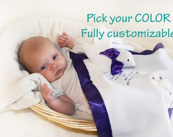 Dove Baptism Christening Security Blanket, Lovey Blanket, Satin, Baby Blanket - Customize Color - Monogramming Available