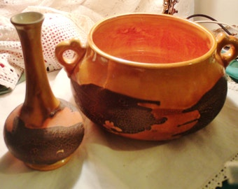 Royal Haeger Earth Wrap pair art pottery circa 1960's