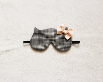 Silk Bow Checked Cat Sleep Eye Mask