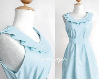 For your bridesmaids - fully lined pleated collar dress