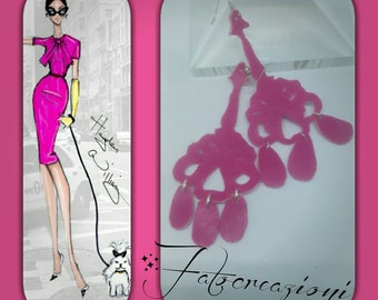 Chandelier pendant earrings in fuchsia eco-leather