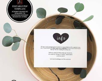 wedding info card, wedding invitations, info card, info card template, template, printable, information card, printable info card, pdf, 8