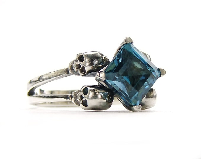 Skull Engagement Ring with Square Blue Topaz in Sterling Silver - All Sizes
