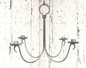Hanging Chandelier Candle Holder Rustic Wedding Chandelier Blacksmith Forged