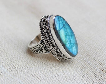 AAA Natural blue labradorite handmade with granulation technique statement ring long oval  shape gemstone  available in all ring sizes