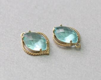 Aquamarine Teardrop Glass Pendant . Polished Gold Plated . Brass Framed . 10 Pieces / G1038G-AQ010