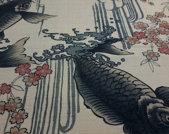 KOI ( Carp ),Cherryblossoms. Water Falls. Off white. Japanese fabric. Japanese cotton  fabric. Fabric by half yard or half meter