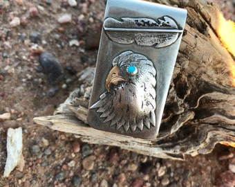 Vintage Eagle and Feather Turquoise Money Clip