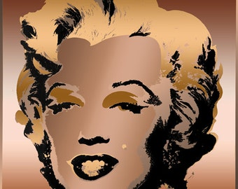 Tribute to Andy Warhol Pop Art 16x16 Coppers Marilyn Monroe Metallic Limited Edition Print Signed by Auric Visual Artist