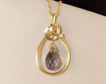 Purple Amethyst Gemstone Gold Pendant Necklace,  Ultra Violet Real Amethyst Wire Wrapped Gold Filled Necklace, Purple Amethyst Jewelry Gift