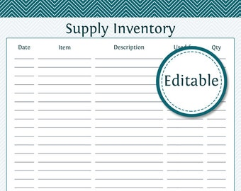 Supply Inventory - Fillable - Business Planner - Printable Organizational PDF - Instant Download
