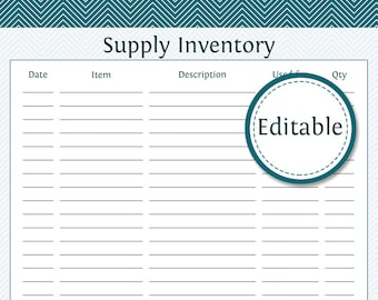 Supply Inventory   Fillable   Business Planner   Printable Organizational  PDF   Instant Download