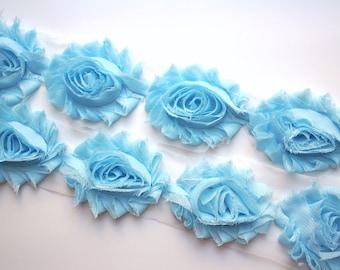 Baby Blue Shabby Rose Trim - Shabby Chiffon Rosettes - Baby Blue Shabby Trim - Shabby Chiffon Flowers 1/2 Yard or 1 Yard