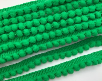 Green Pom Pom Trim, Pom Pom Ribbon, Mini Pom Trim, Decorative Ribbon.