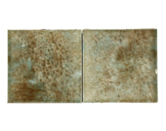 Set of 2 tan washed decorative tiles