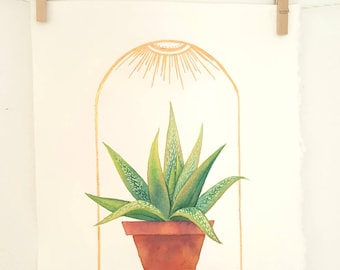 Indoor Sunshine, Original Watercolor Painting and Gold Foil accents