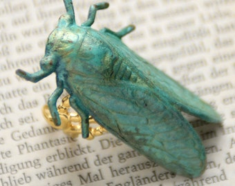 Brass Cicada Ring, Locust Jewelry, Insect Jewelry, Green Cicada Ring, Patina Ring, Green Ring, Goth Ring, 18K Matte Gold, Bug Jewelry, SRAJD