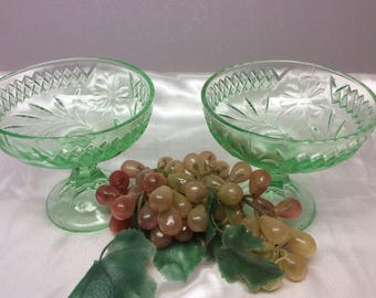Vintage 2- Floral and Diamond Vaseline Glass Compote or Comport U.S. Glass Co. 1920's