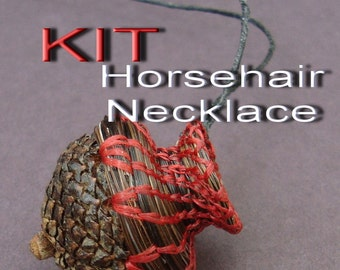 KIT Acorn Cap Horsehair NECKLACE KIT do it yourself, everything included, Fiber Arts Kit, How To Weave, Coiling Instruction