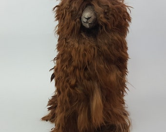 Handmade Authentic Peruvian Llama Doll with Alpaca Suri Fur 12 inch