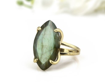 MOTHER'S DAY SALE - Labradorite ring,long marquise ring,gemstone ring,prong ring,cocktail ring,gold ring,solid gold ring,double band ring