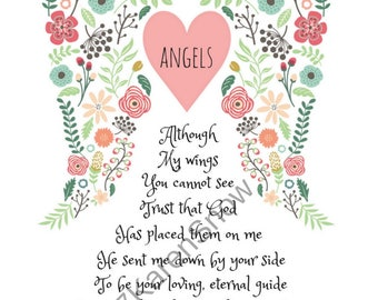 Angels, Angel Poem, Religious Poem, Angel Gift. Sympathy Gift, Inspirational Gift, Angel Wall Art, Pastor Gift, Angel Wings, Gift for Church