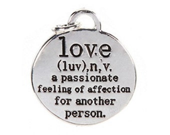 2 Love Definition Charms / Pendants - Definition of Love - Valentine's Day - Engagement - Birthday     (JWL)