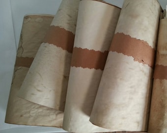 bundle of coffee dyed papers for crafts   large sheets of hand dyed paper   coffee stained paper   junk journal paper supply   collage paper