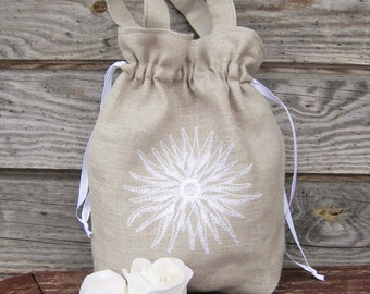 Linen Girl Handbag,  Wedding Sachet, Small Handmade Bag, Gray, Rustic Party Bag Bags Bride bag,  Purses Rustic wedding
