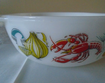 JAJ white glass dish with sea food design.