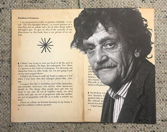 Kurt Vonnegut Collage on pages of Breakfast of Champions