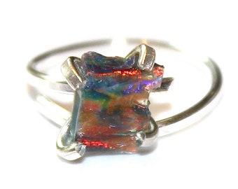 Black Opal Ring Raw Opal Ring Raw Opal Shard Ring Raw Stone Ring Rainbow Fire Opal Jewelry Raw Black Opal Free Form Raw Opal Jewelry