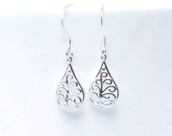 Sterling silver Filigree earrings - silver drop earrings - gift for her - UK Made