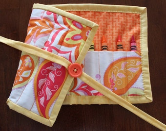 Flower Crayon Roll Up, Splendor, Pink Crayon Holder, Girl Crayon Tote, Hot Pink Orange Yellow, Art Supplies, Crafts, Quilted Crayon Roll