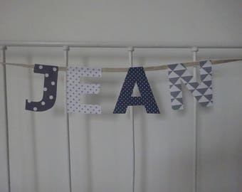 4 fabric letters for name Jean wreath
