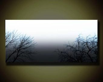Landscape Painting, Landscape Giclee Print, Large Canvas Print, Landscape Art, Tree Painting, Wall Art, Nature Painting, Foggy Landscape
