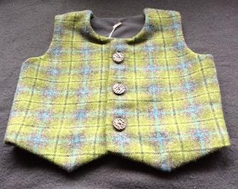 Green Tartan Tweed Waistcoat, 18-24m, with faux stag horn buttons. Scottish waistcoat, tweed waistcoat. Scottish baby. Scottish wedding.