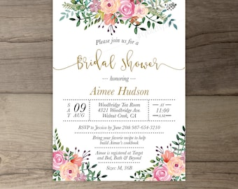 Floral Bridal Shower Invitations • Watercolor flowers greenery • Recipe Cards • printable