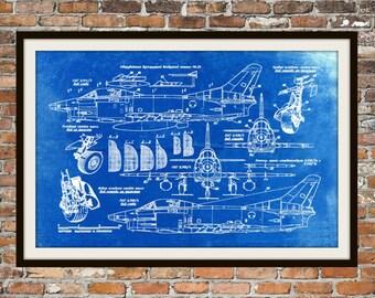 Blueprint Art of Fiat G91R Jet Plane Technical Drawings Engineering Drawings Patent Blue Print Art Item 0007