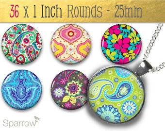 Bohemian Prints - 1X1 (One) Inch or 25mm Round Tile Images - Digital sheet - Pendant Images - Buy 2 Get 1 Free -Instant Download -Bottle Cap