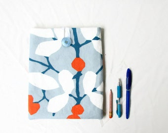 Fabric Ipad cover, 10 inch tablet case, blue and orange fabric tablet sleeve, fabric IPad pro case, IPad Air case, handmade in the UK