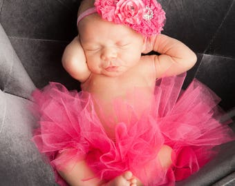 Azlyn Collection- Hot pink Newborn tutu, Infant Baby Girl Tutu WITH coordinating headband bow, newborn photo prop, baby girl gift, baby pict