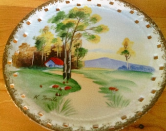VintageNorleans Hand painted and Artist Signed Decorative Wall Hanger Plate