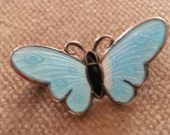 Vintage N.M. Thune Butterfly Brooch Sterling Guilloche Butterfly Pin