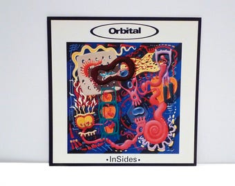 Orbital Poster 1996 Vintage InSides Record Store Display Flat In Sides Album Cover artwork Surreal Techno Ambient Electronic Mohawk Music
