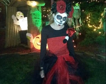 Day of the Dead Gothic Red Black Tutu  Dress Costume   Dress