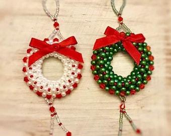 Beautiful beaded Christmas Wreath Ornament Pattern