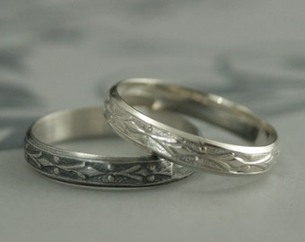 Edwardian Band--Vintage Style Ring--Silver Wedding Band--Silver Wedding Ring--Men's Wedding Band--Women's Wedding Band--Geometric Ring